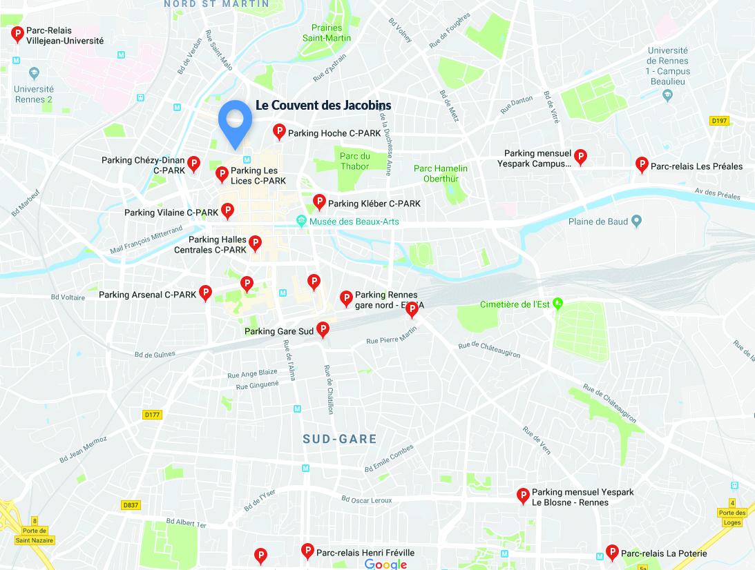 Carte des parkings de Rennes